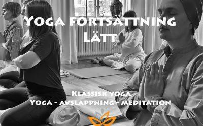 Yoga fortsättning lätt – Måndagar kl. 17.45 – 19.45